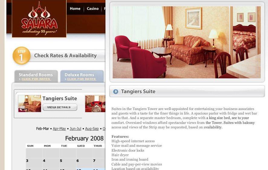 Suite Page for the Sahara Las Vegas Copywriter Al Lefcourt