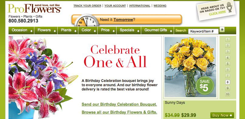 ProFlowers Birthday Product Page Freelance Copywriter Al Lefcourt